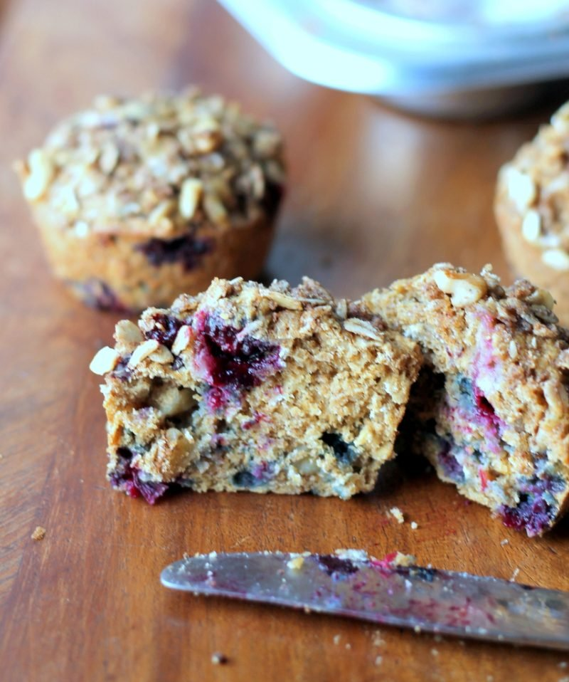 Oatmeal Blueberry Applesauce Muffins With Walnut Oat