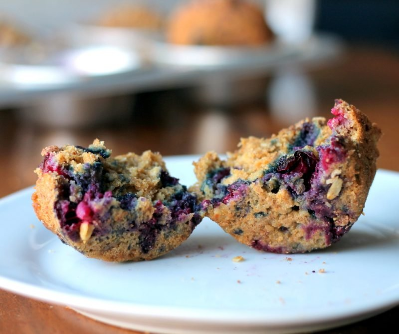 blueberry applesauce muffin with oat streusel