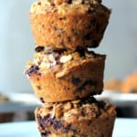 stack of : blueberry applesauce muffins with oat streusel