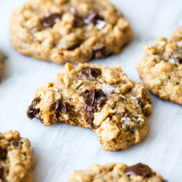 peanut butter oatmeal chocolate chip cookies on a marble board