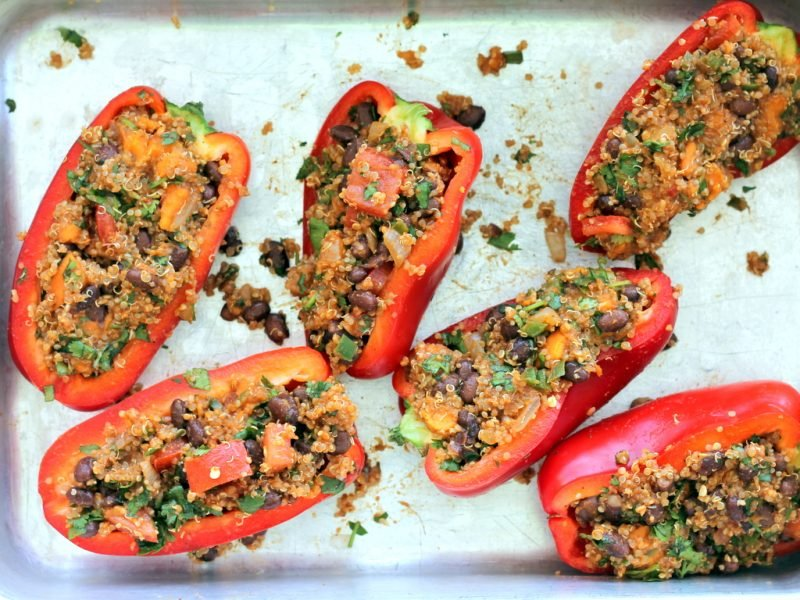 quinoa stuffed bell peppers on pan