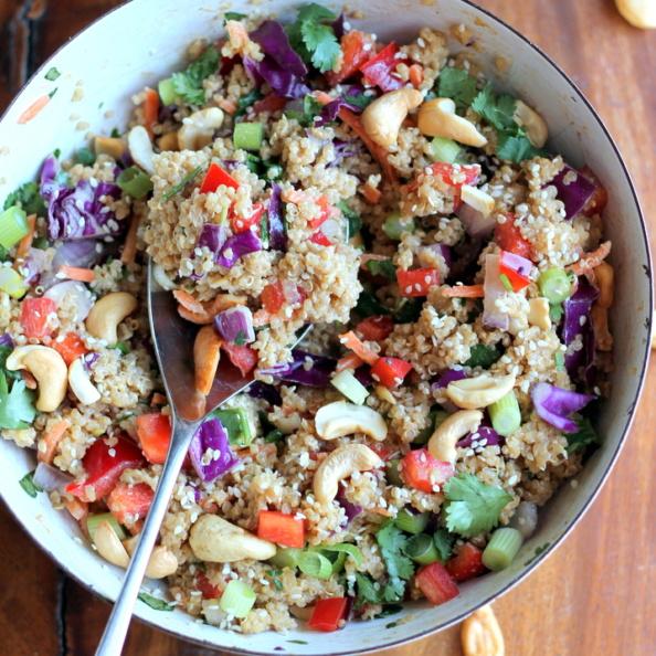 Thai quinoa salad in a bowl