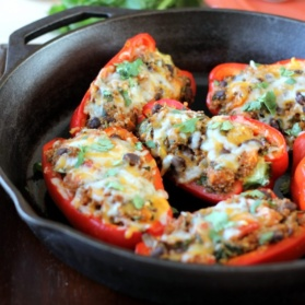 quinoa stuffed bell peppers in pan