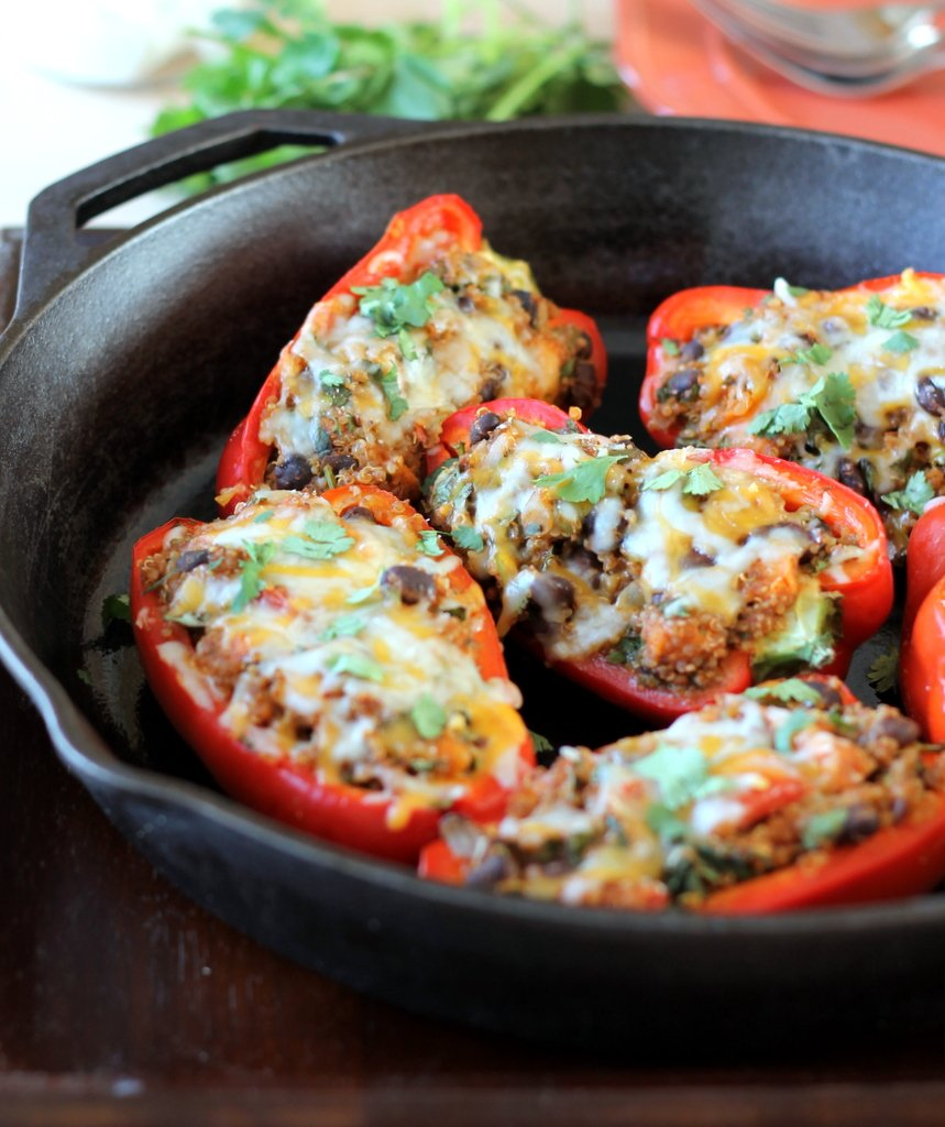 Black Bean, Sweet Potato, & Quinoa Stuffed Bell Peppers ...