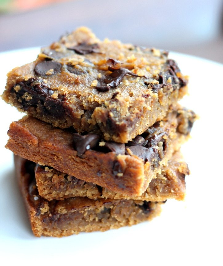 Flourless Chocolate Chip Blondies in a stack