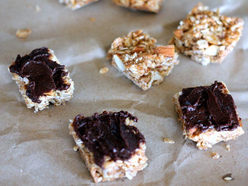 homemade coconut almond granola bars with dark chocolate