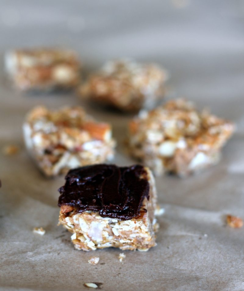 homemade coconut almond granola bars with dark chocolate