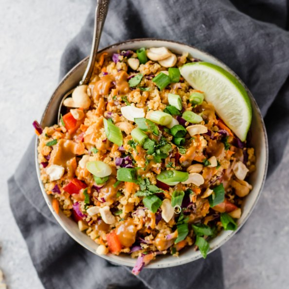 thai quinoa salad in a bowl