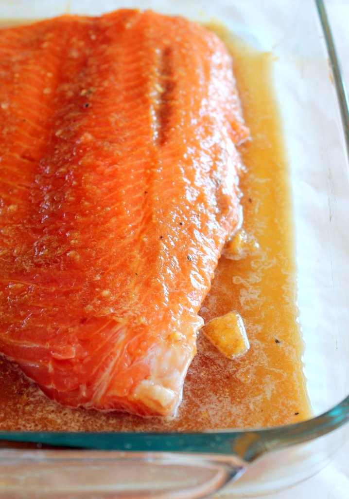 brown sugar honey marinated salmon in pan