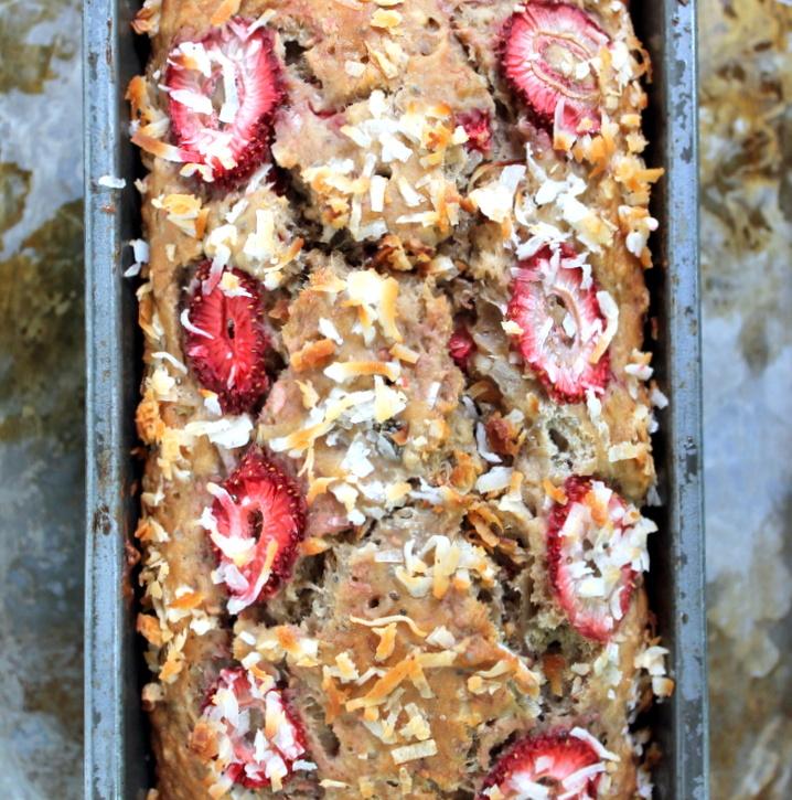 Healthy Strawberry Coconut Chia Seed Banana Bread made with greek yogurt