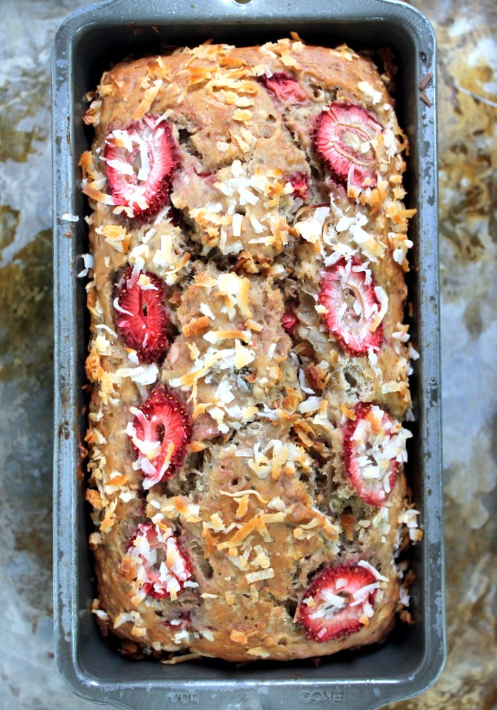 Healthy Strawberry Coconut Chia Seed Banana Bread made with greek yogurt