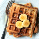 Whole Wheat Coconut Banana Waffles with Chocolate Chips + Roasted Almonds