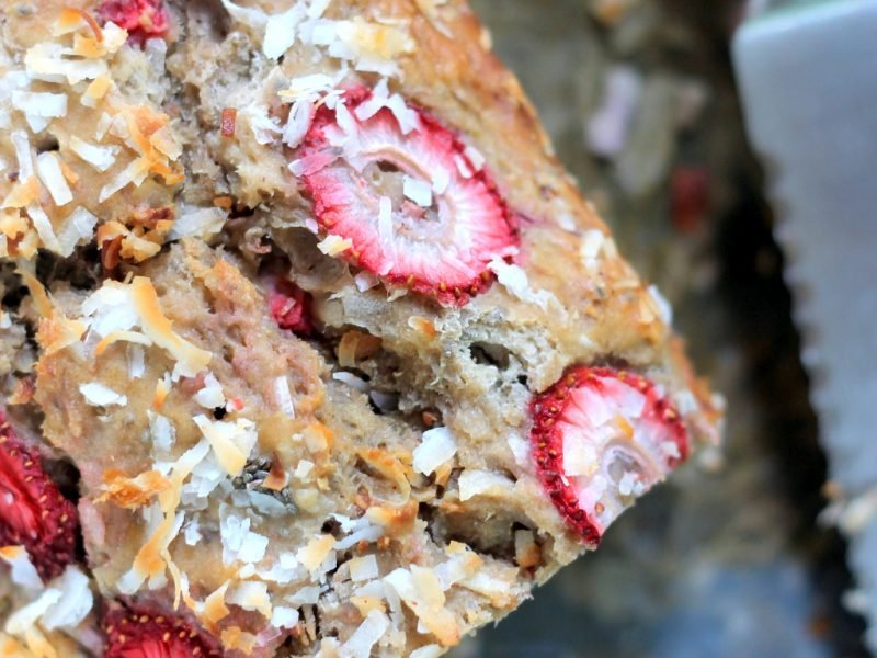 banana bread with coconut and strawberries