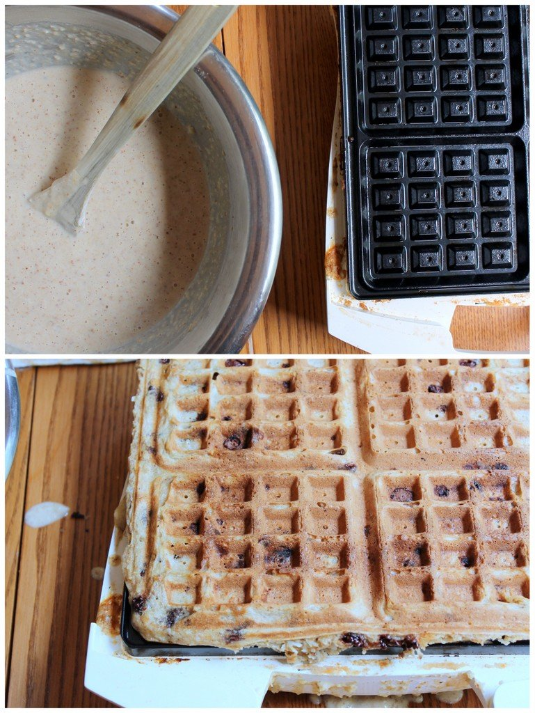 banana waffles being made with batter and waffle iron