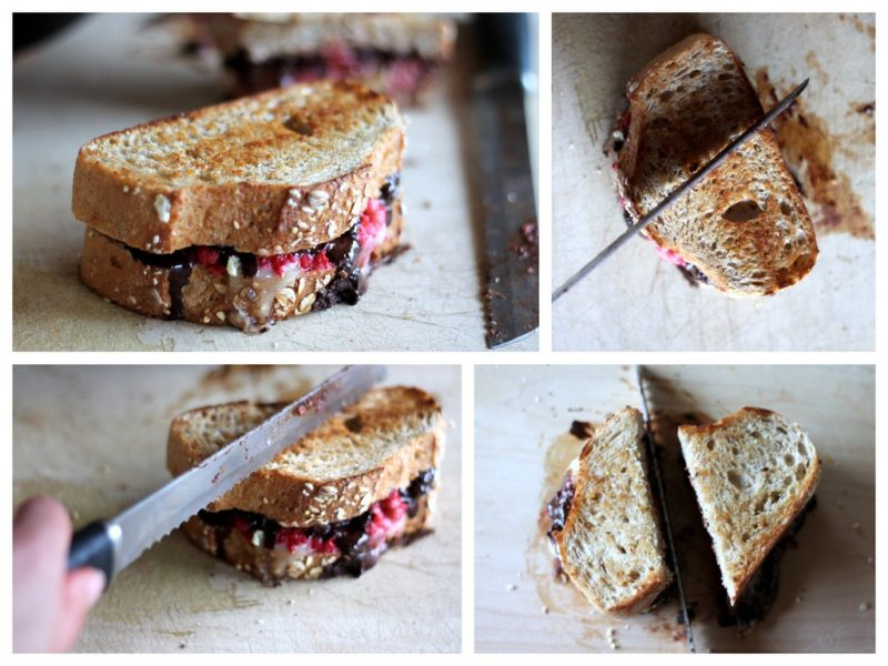 slicing brie grilled cheese sandwich with raspberries, and chocolate
