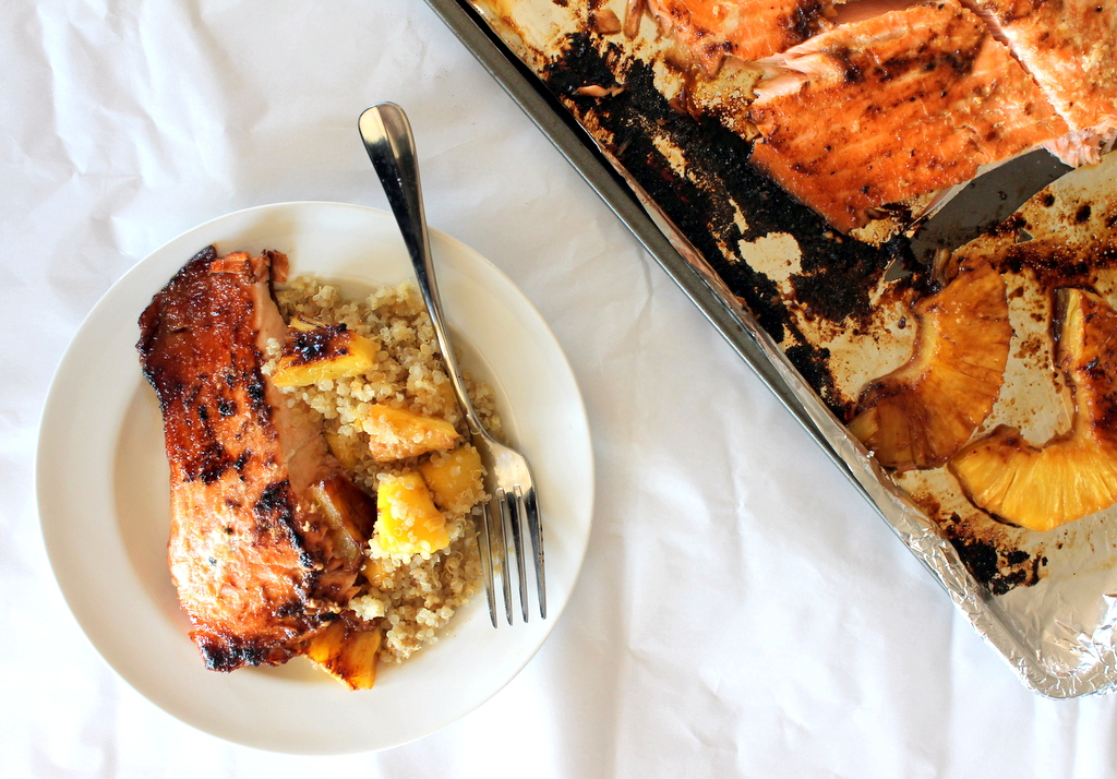 Brown Sugar Honey Marinated Salmon from the Ambitious Kitchen [Recipe Round-Up at A Little Seed Grows]
