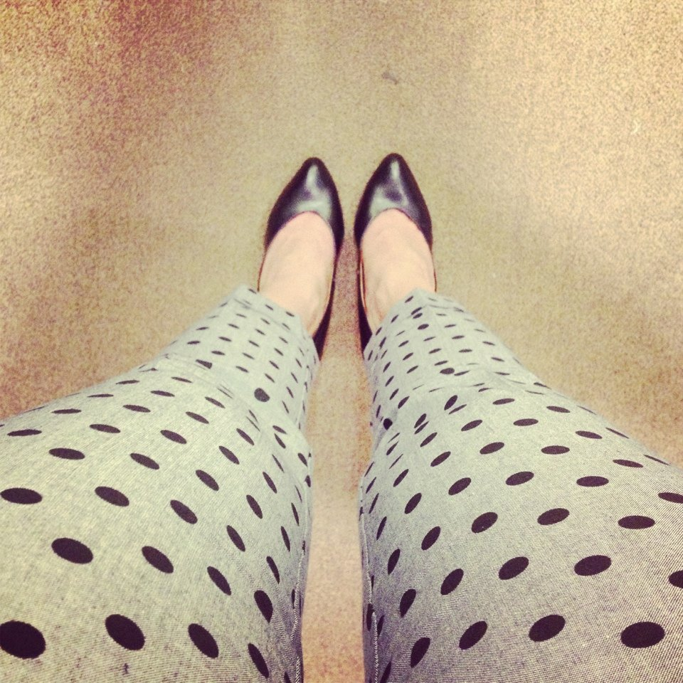 polka dot pants and black heels