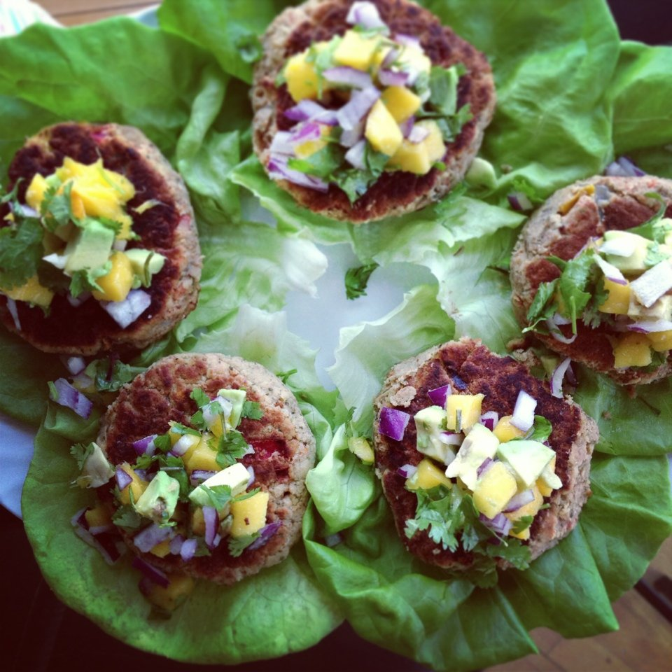 chickpea burgers on lettuce wraps