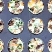 egg white muffins with vegetables in pan