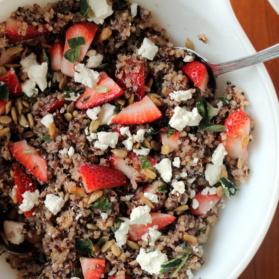 strawberry basil quinoa salad in bowl