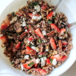 Fresh Strawberry Basil Quinoa Salad with Goat Cheese, Sunflower Seeds & Lemon Vinaigrette