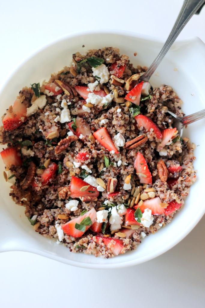 Strawberry Basil Quinoa Salad in a white bowl