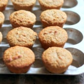 banana oat protein muffins on pan