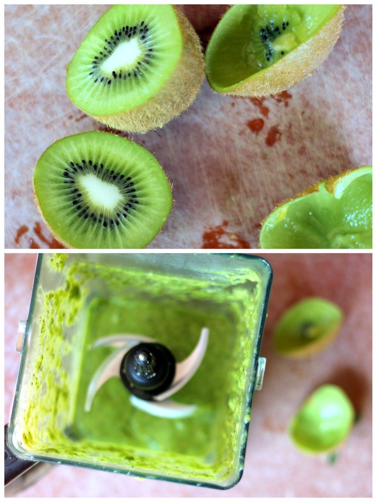 healthy green smoothie in blender with kiwi fruit