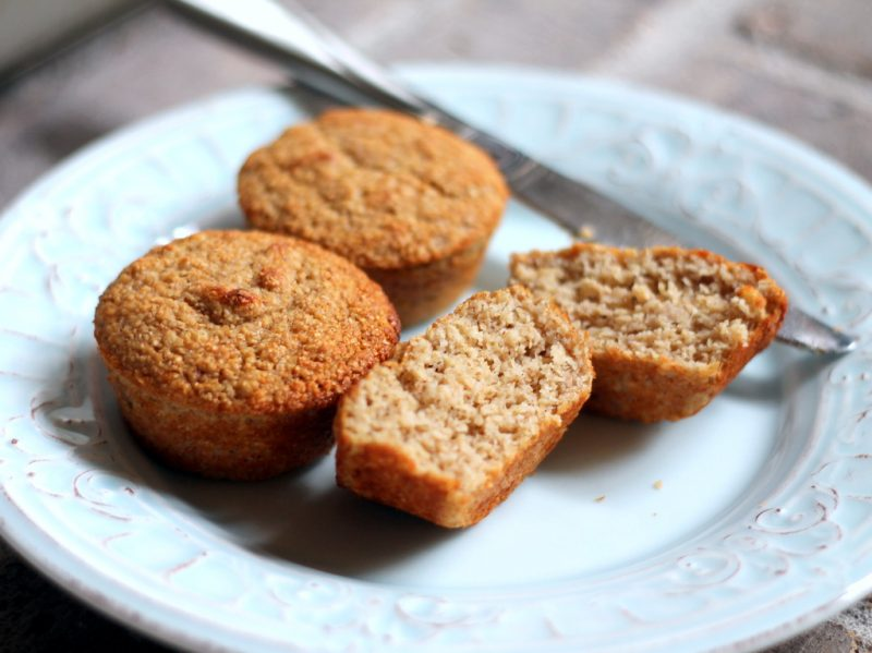 banana oat protein muffins on plate