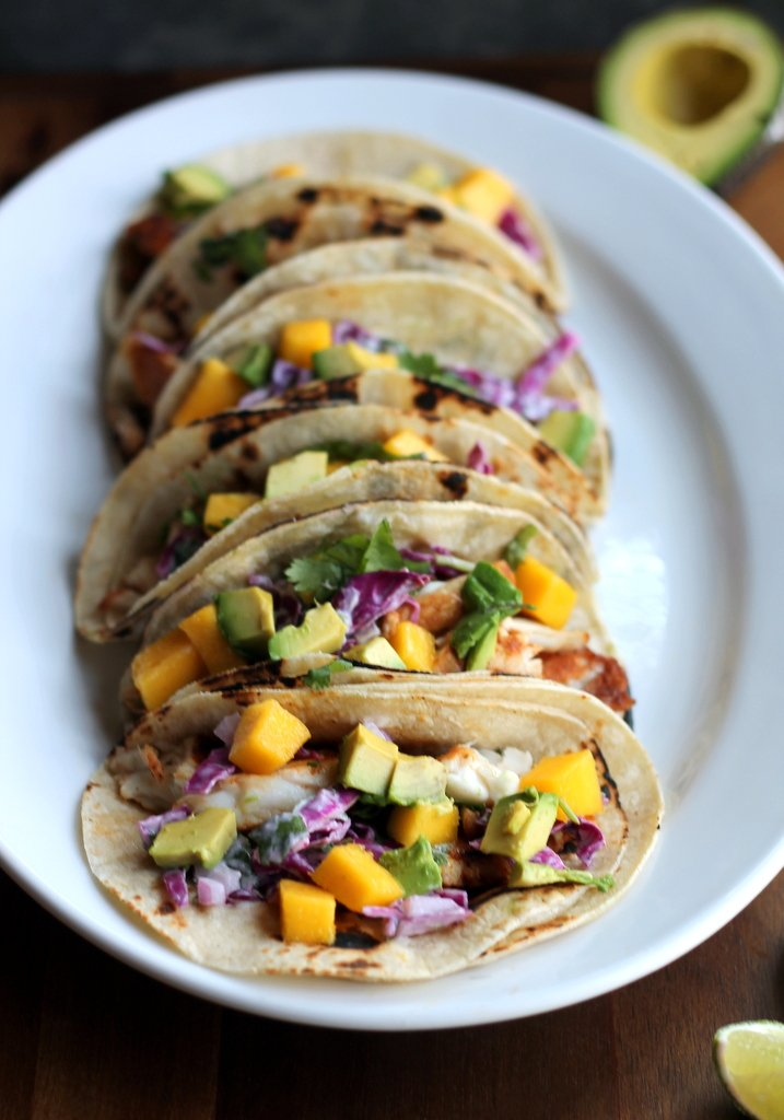 Grilled Chili-Lime Fish Tacos with Sour Cream Cabbage Slaw + Mango & Avocado | Ambitious Kitchen