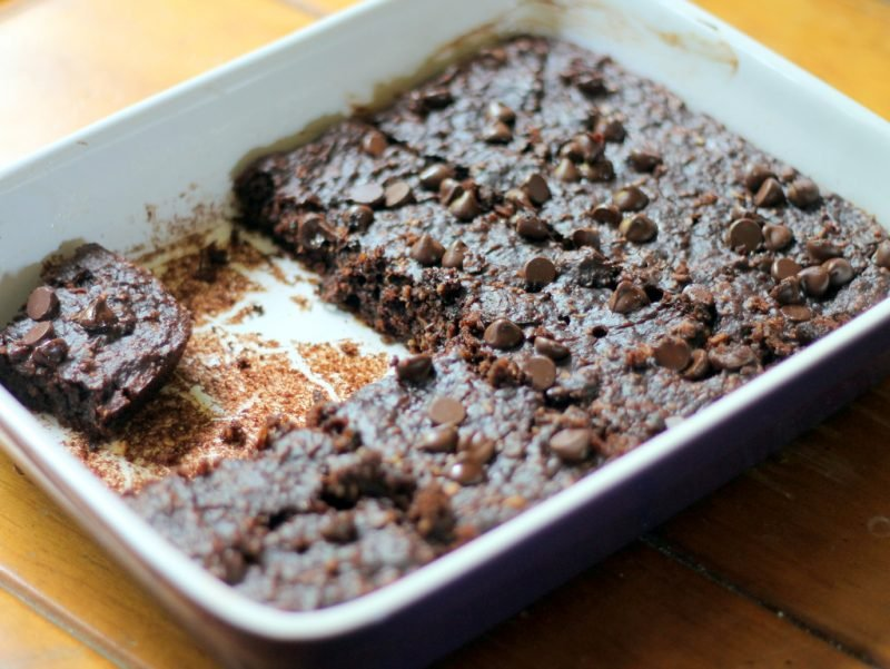 healthy chocolate chip brownies in pan