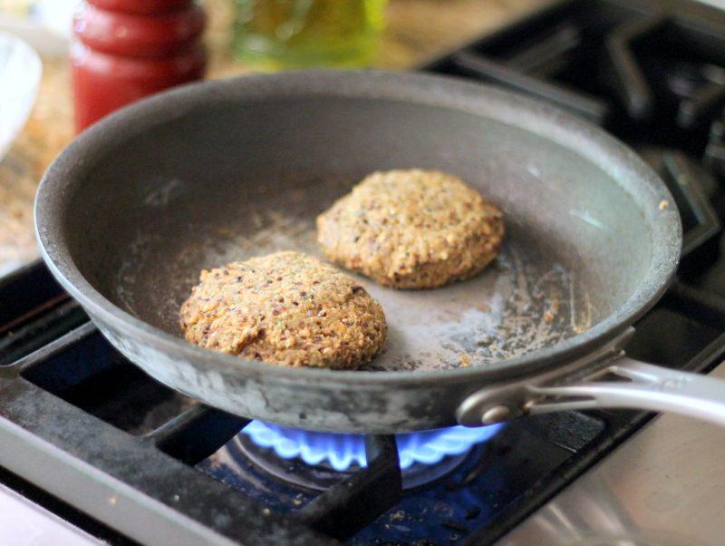 black bean burgers in pan