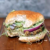 black bean burger on bun with sprouts