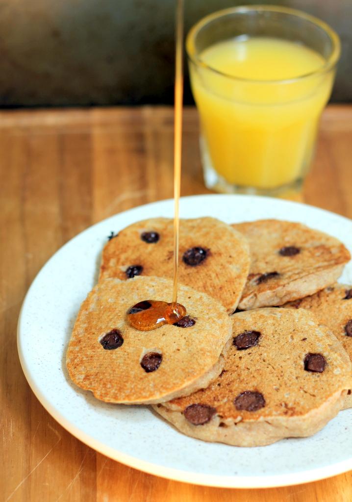 Healthy Mini Whole Wheat Vanilla Yogurt Dark Chocolate Chip Pancakes