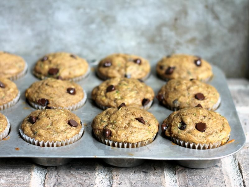 banana muffins with chocolate chips in pan