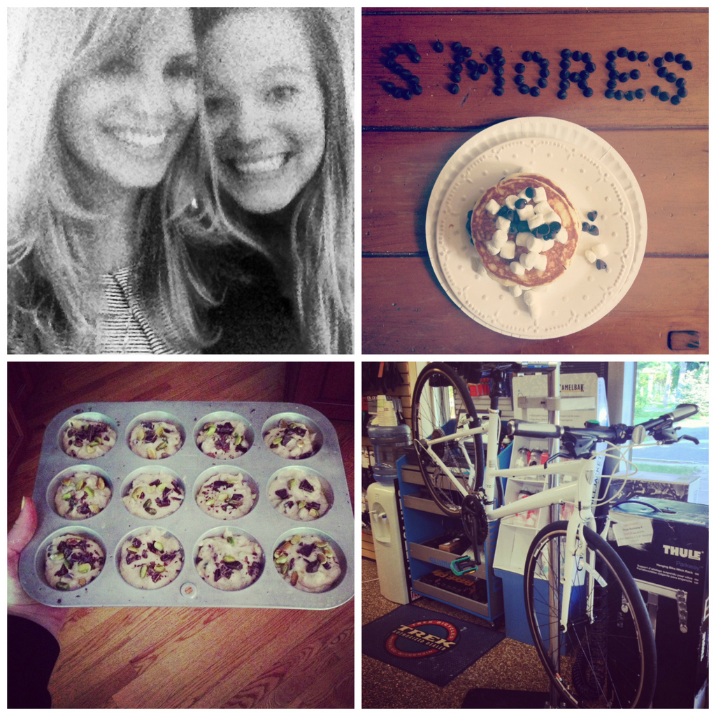 collage of food, friends, and a bike