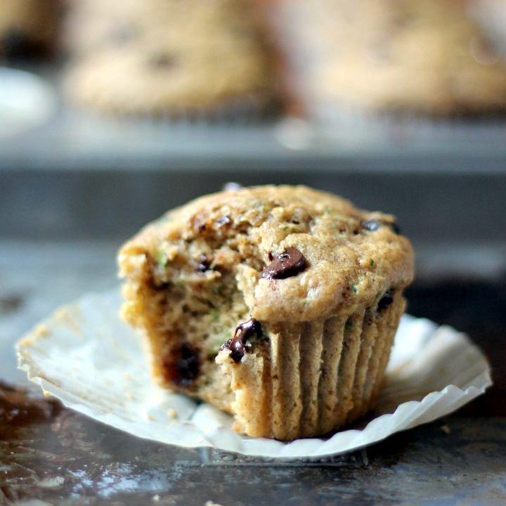 Skinny Zucchini Banana Chocolate Chip Muffins Ambitious Kitchen