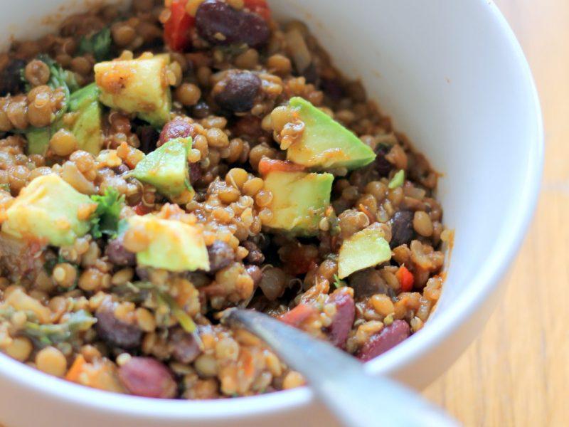 vegetarian lentil and quinoa chili in bowl