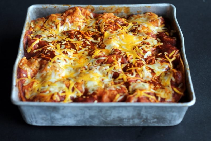 Chicken enchilada casserole with sweet potatoes