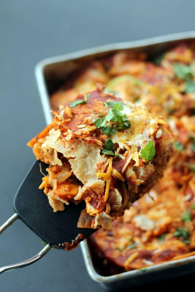Layered Chicken And Black Bean Enchilada Casserole Recipe — Dishmaps