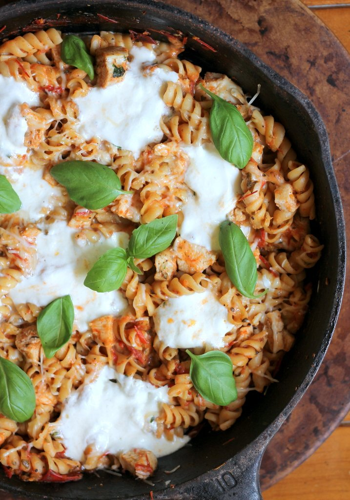 Skillet Cheesy Chicken Rotini With Homemade Tomato Basil Sauce