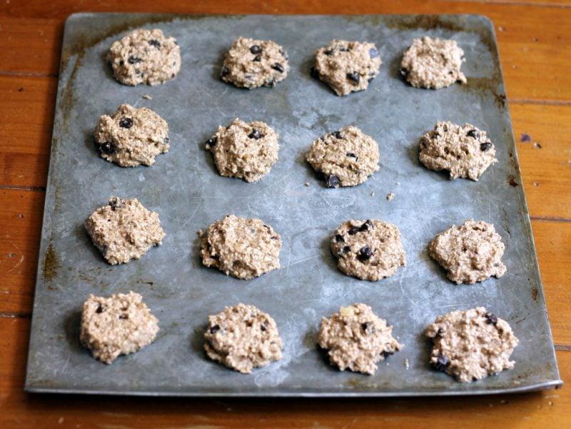 banana bread breakfast cookies with oats on pan