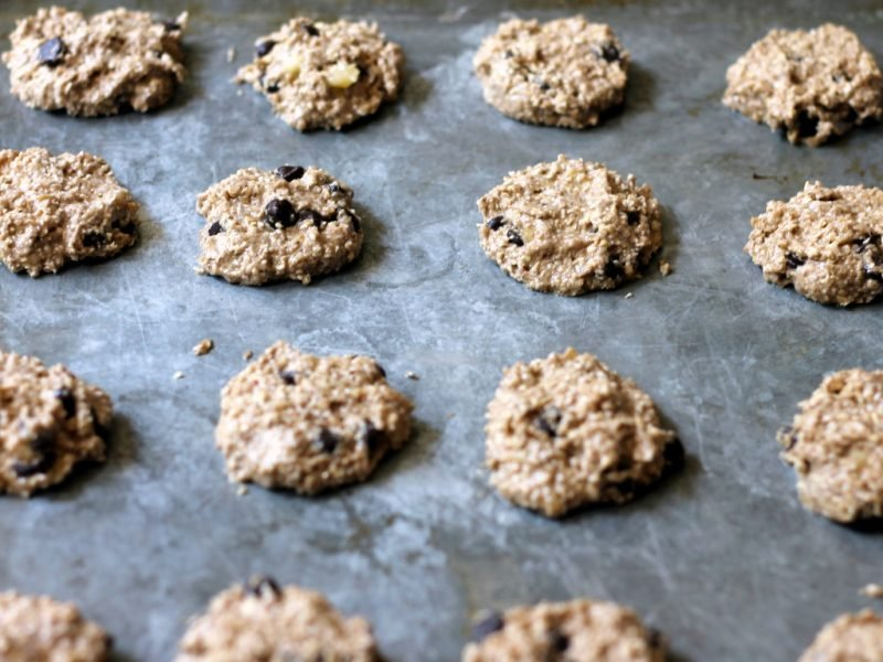 banana bread breakfast cookies with oats on pan