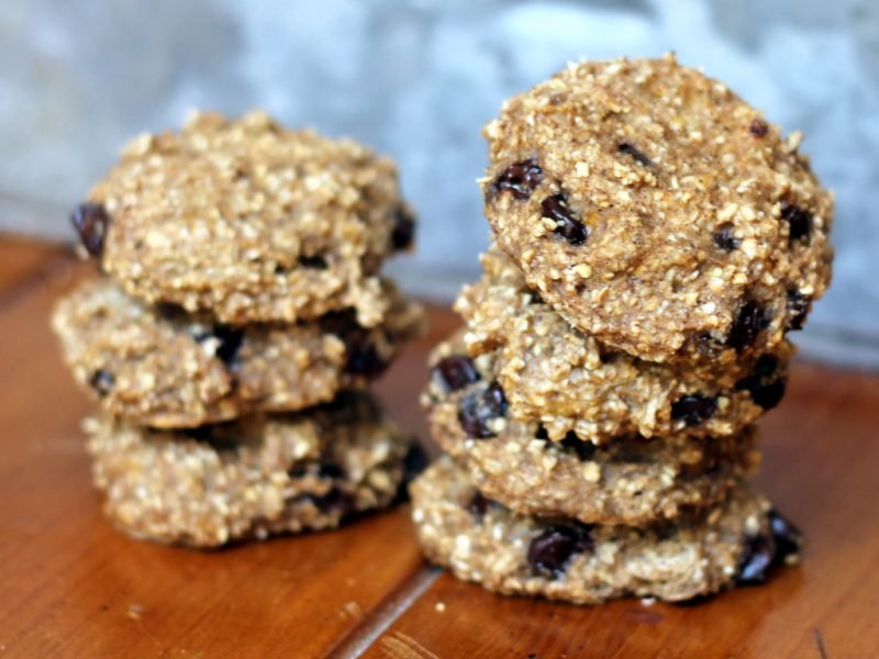 stack of banana bread breakfast cookies with oats