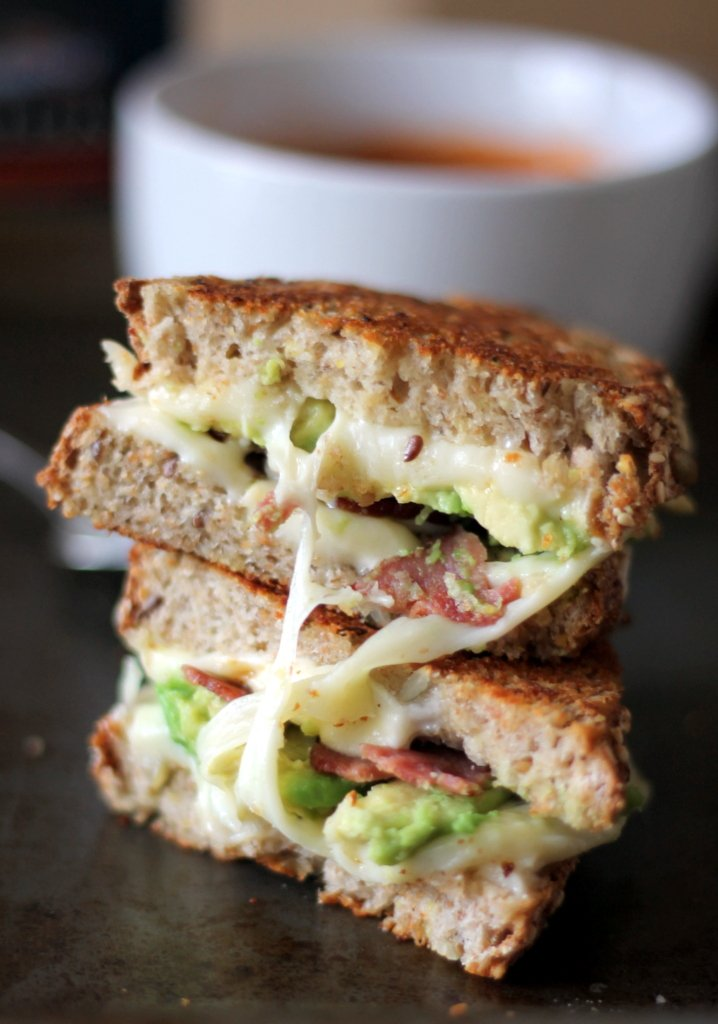 Healthy turkey bacon, avocado, and mozzarella grilled cheese