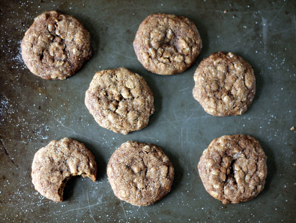 Ginger oatmeal cookies on a baking tray