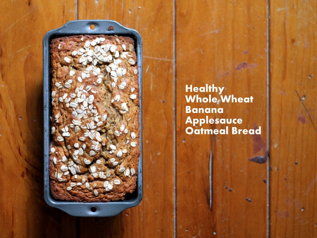 Healthy applesauce banana bread with text overlay