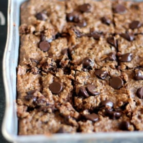 Peanut butter oatmeal chocolate chip lentil blondies in a baking tray