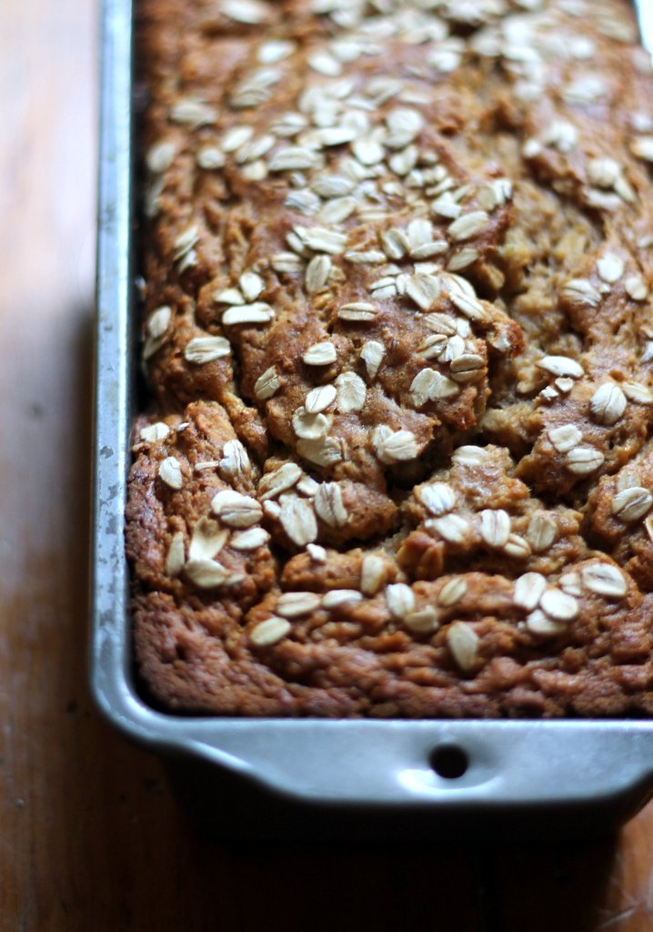 Whole Wheat Oatmeal Applesauce Banana Bread in a loaf pan