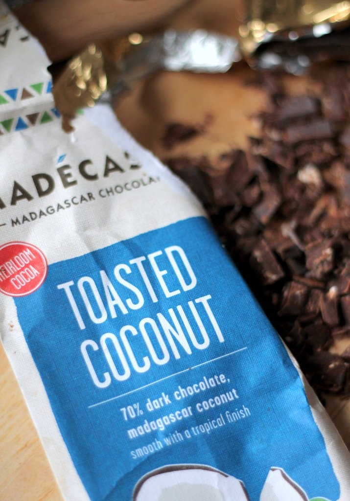 Bar of toasted coconut dark chocolate